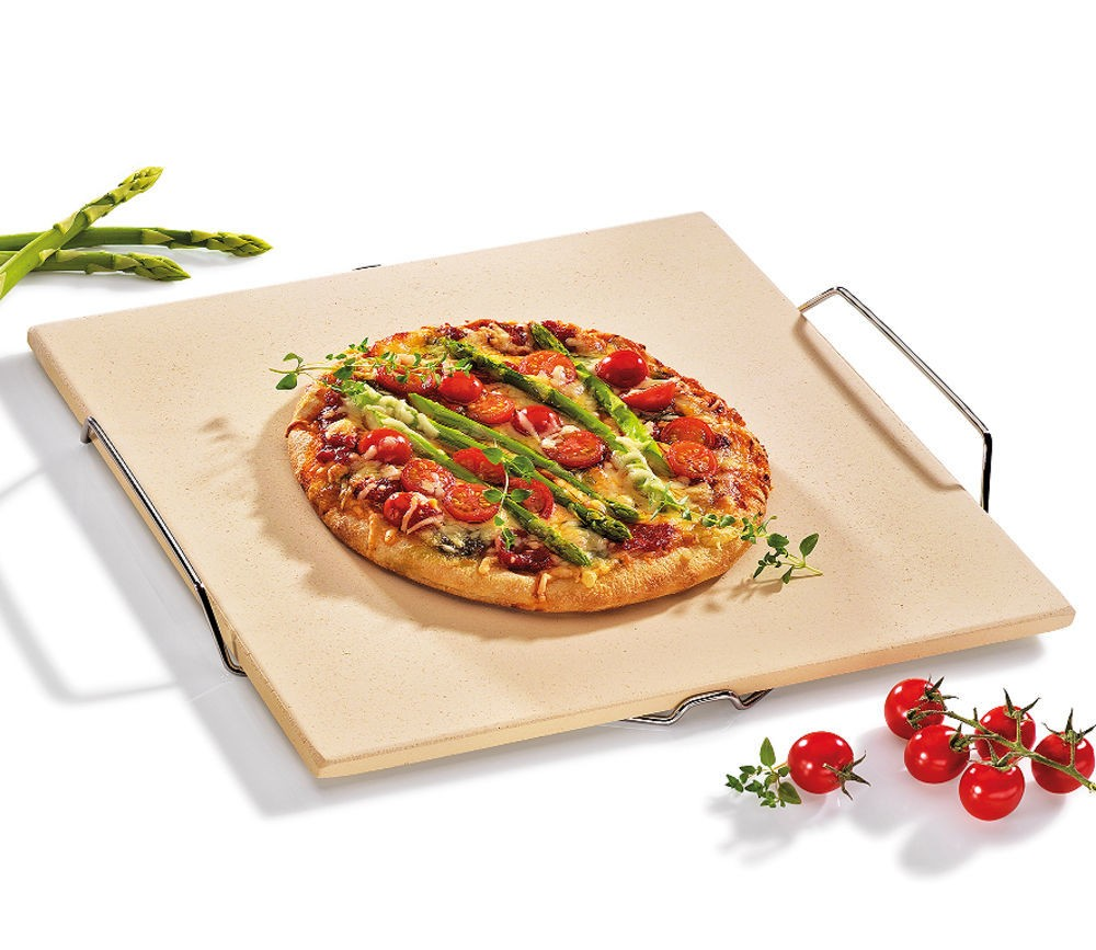Pizzastein, rechteckig und mit Gestell